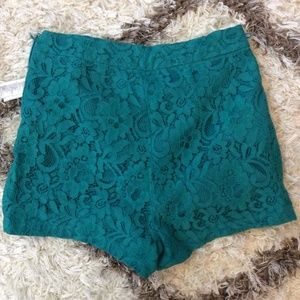 FOREVER 21 Green Teal Lace High Waist Shorts